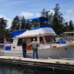 dockside conversation with Madsen's Blue Heron