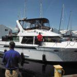 First Mate Sandy Thomas preparing for docking