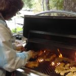 Sally Calkins helping out at the BBQ in Pleasant Harbor