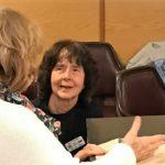 Linda Newlands & MOSPS member Sally Calkins converse