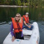 Bonds on their evening dinghy tour
