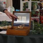 Chuck Lamb's treasures  in his wooden display box he built