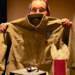 Past Commander Ray Mahalick with gift of a shirt with PAst Commander and our  Burgee logo